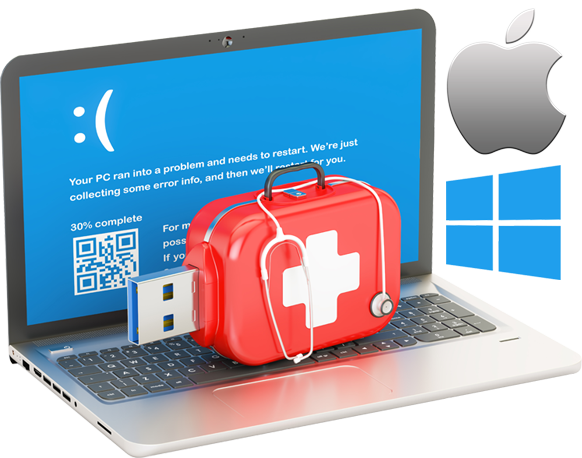 Laptop computer with medical cross on flash drive
